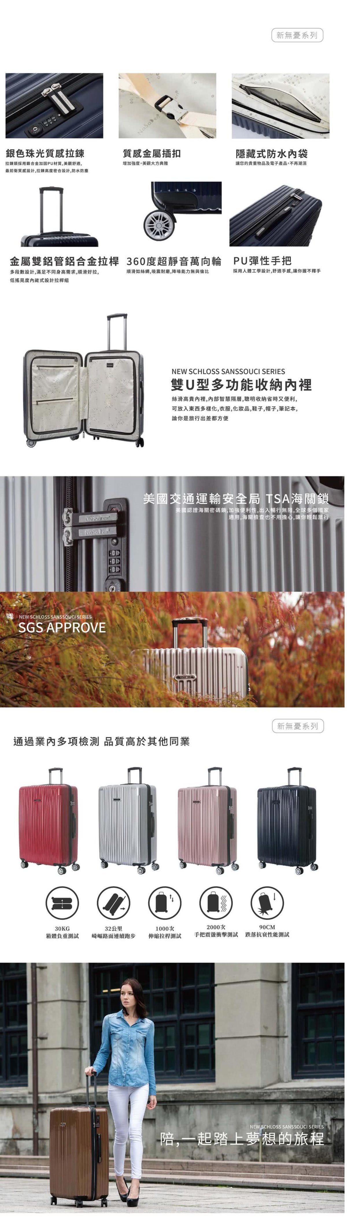 【22吋】德國NaSaDen納莎登新無憂系列輕量拉鍊行李箱